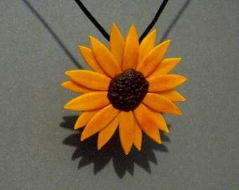 Black Eyed Susan Pendant - Sculpted Flower Necklace - Gerber Daisy Pendant - Sunflower Pendant - Flower Jewelry - Orange and Brown