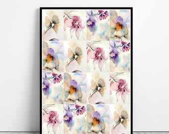 Watercolor flowers wall art, art print, watercolor poster, nature print, modern print, home wall decor, apartment wall art, poster, gift
