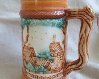 Pioneer Mdse Co NY Japan ceramic beer tankard stein 24 oz lager mug rustic pub gift for dad
