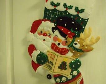 "Bucilla Completed Felt 18"" CAROLING TRIO Christmas Stocking"