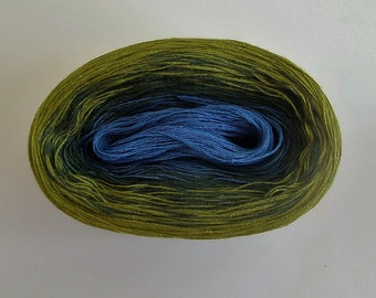 BLUE JADE II  Color Changing Cotton yarn  480 yards/100 gr  Fingering Weight