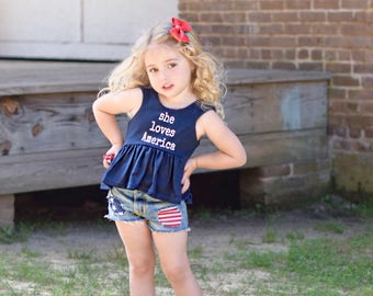 She Loves America, Navy and White Dress, or Crop