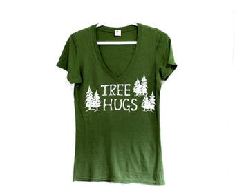 TREE HUGS Womens Tee. Olive Green Tshirt. Gifts for Outdoor Enthusiasts. Tree Hugger Top. West Coast Print. Happy Hippie Granola Mom Top