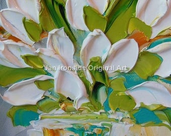 Wedding, Tulip Oil Painting , Palette Knife Oil  Painting  white tulips