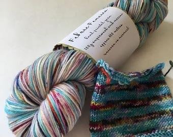 Yarn 'Unicorn vs Mermaid self striping hand painted dyed superwash merino sock 4ply or dk yarn wool/ nylon high twist