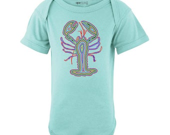 Cool Psychedelic Colorful Lobster Print Baby Bodysuit Fun Design Infant Newborn 6 12 18 Months Seafood Lobsters Original One Piece Cotton