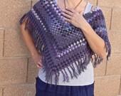 SALE crochet poncho boho bohemian crochet wrap purple gray summer festival top gift for her womens clothing music festivals