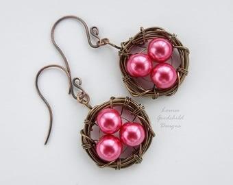 Birds Nest earrings, birds nest jewelry, nest with eggs, birds nest earrings, wire nest earrings, raspberry pearl earrings, easter earrings