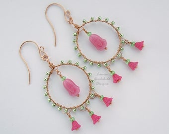 Canterbury Bells earrings, pink bell flower earrings, wirework earrings, wire wrapped earrings, pink and green earrings, flower earrings