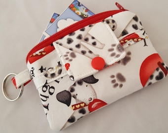 Zipper Mini Wallet Pouch Key Chain Card holder - Red Hearts Have you Kiss your Dog