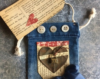 Vintage Style Mixed Media Miniature Jean Pocket Ornament With Rusted Heart and Love Theme