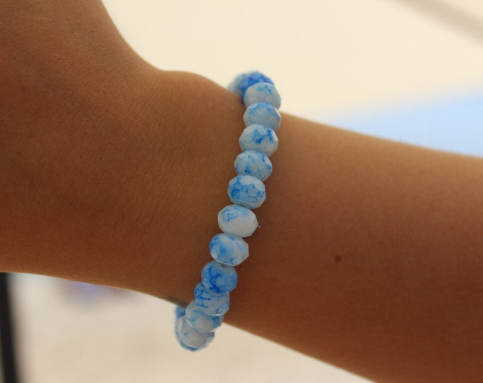 RC Signature Bracelet in Blue and White Marble.