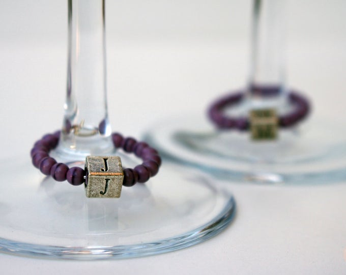 Wine Glass Marker/Wine Glass Charm in Purple with Initial.
