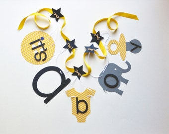 Elephant baby shower decorations yellow chevron navy blue grey It's a boy banner ParkersPrints on Etsy