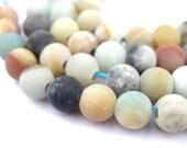 50 Spherical Amazonite Stone Beads - South American Beads - Large Hole Amazonite - Large Hole Gemstones - Matte Amazonite (STN-RND-MIX-319)