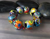 Funky Souls - 9 freestyle lampwork beads - Glass Art by Michou P. Anderson (Brand: Sonic & Yoko)