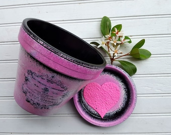 Painted Flower Pot - Pink and Black - Rustic Planter - Vintage Room Decor - Rustic Room Decor