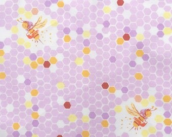 Heather Ross - Half Yard - Briar Rose Hex Bee in Lilac - Windham Fabrics - 100% Cotton Fabric