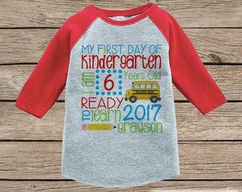 First Day of Kindergarten Shirt - Back To School Kindergarten Stats Shirt - Kids Stats Red Raglan - Boys My First Day of School Shirt