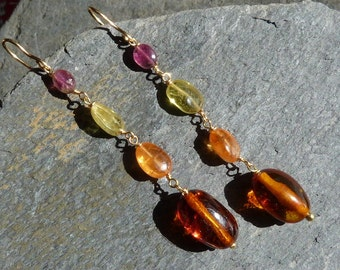 18 k yellow gold earrings with precious stones:  IMPORTANT, French vat is included, 20% off for US and canadian buyers
