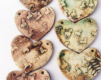 Clay Heart with Horses, Textured Bead, Large Scale Bead, Pendant, Equestrian Necklace Part