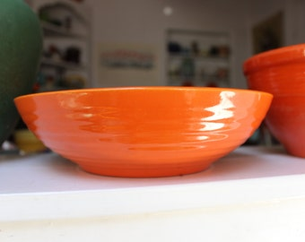 "Bauer Pottery Ring Ware Bowl Low Salad 9"" Orange California VINTAGE by Plantdreaming"