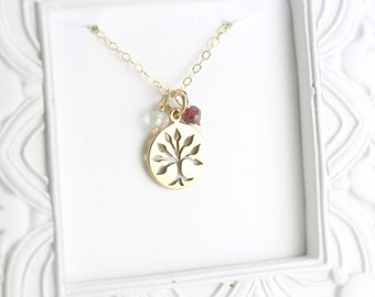 Family Tree Necklace - First Mothers Day Gift - Gold Grandma Necklace - Nana Gift - Grandma Birthstone Necklace - Family Birthstone Jewelry