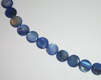 Mother of Pearl (MOP) Round flat coin 10mm Shell Beads  Blue