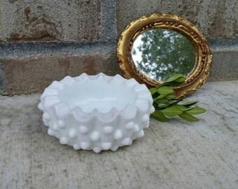 Vintage Fenton Hobnail Milk Glass Round Ashtray or Ring/Trinket Dish 1940's