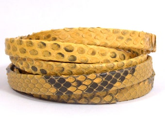 10mm Genuine Python Skin - Yellow - Choose Your Length