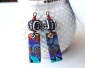 Colorful Abstract Earrings, Polymer Clay Earrings, African Glass Earrings, Funky Ethnic Earrings, Purple Earrings, Artisan Earrings