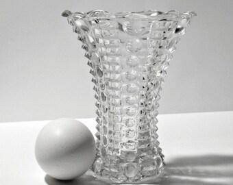 Pressed Glass Bud Vase / Vintage Glass Bud Vase / Glass Bud Vase Dots and Bars / MCM Glass Bud Vase Dots and Dashes / 1950s Glass Bud Vase