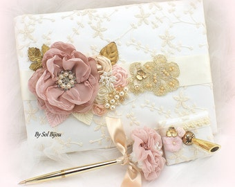 Wedding Guest Book, Lace Guest Book, Rose, Blush, Gold, Champagne, Ivory, Vintage Style, Signature Book, Birthday, Anniversary, Pen, Elegant