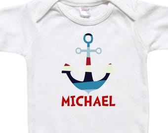 Personalized Baby Bodysuit - Todder Shirt Tshirt - Baby Shower Birthday Gift - Nautical Anchor Red White Blue
