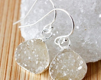 50 OFF SALE Mini Vanilla Agate Druzy Earrings - Wide Teardrops - Drusy Jewelry