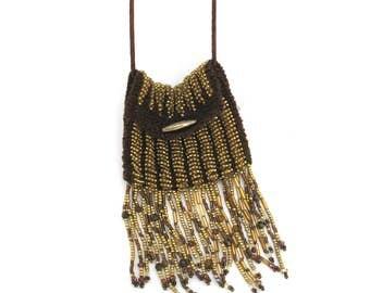 tiny beaded bag necklace  ...  miniature purse necklace