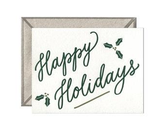Happy Holidays letterpress card