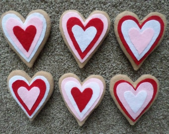 6 Decorated Felt Hearts Valentine Cookies Ornies Bowl Filler Decorations