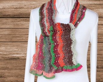 Multi Color Scarf, Ripple Crocheted Scarf, Scarf with Ruffled Ends, Lace Scarves, Gift for Her