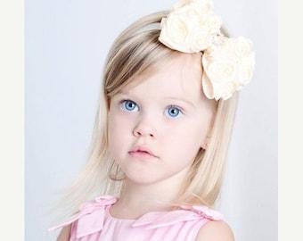 Ivory Hair Bow, Satin Rosette Hair Bow w/ Crystal Center Headband or Hair Clip, The Virginia, Baby Toddler Child Girls Headband