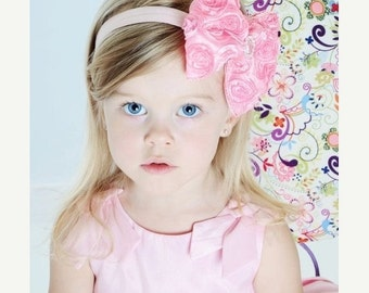 Pink Hair Bow, Pink Ombre Satin Rosette Hair Bow w/ Crystal Center Headband or Clip, The Virginia, Baby Child Girls Headband