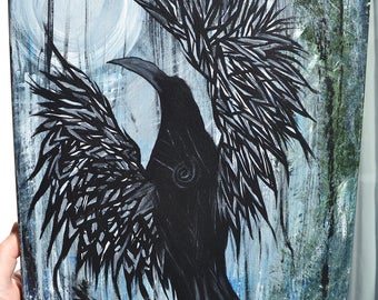 Crow/Black Bird Art, Full Moon/Night, Original Acrylic Painting, Silver White Light Blessing