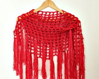 Sale Crochet Cover Up - Triangle Fringe Scarf- Coral Red Scarf- Boho Crochet Scarf- Fringed Shawl - Linen Wool - Bohemian Scarf- Womens Gift