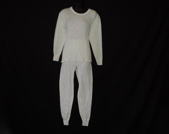 vintage ladies thermal underwear 80s rosebud Hanes fitted winter top + pants large