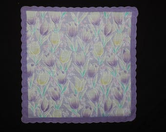 vintage purple tulips handkerchief 60s spring floral scalloped cotton hanky