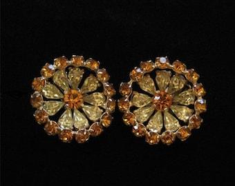 Topaz and Yellow Rhinestone Earrings