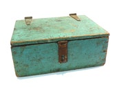 RESERVED for AMYA925 - Final Payment - Primitive Lock Box Vintage 1930s 1940s Rustic Wooden Tool Box Green Painted Storage Box