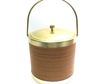 Faux Wood Made in Italy Mid Century Ice Bucket Vintage 1960s Plastic and Metal Barware Cocktail Bucket