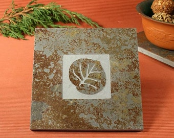 Slate Trivet / Hot Plate - Aspen Leaf Sandcarved on Copper Slate