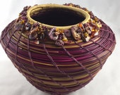 Embellished Fuchsia and Butterscotch Pine Needle Basket by Marcie Stone